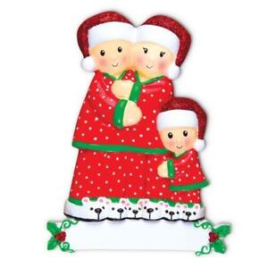 Pajama Family Of 3 Personalized Christmas Tree Ornament X-mass Noel Gift NEW