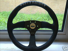 Universal KEYS Rally Racing Drifting Style 350mm Leather Flat Steering Wheel