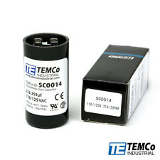 TEMCo 216-259 uf/MFD 110-125 VAC volts Round Start Capacitor 50/60 Hz -Lot-1