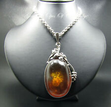 Large Baltic Amber Pendant Necklace Stirling Silver Art Nouveau Necklace 47g