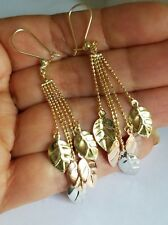 14k yellow white rose gold long drop chain leafs earrings