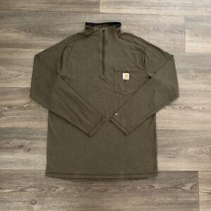 Carhartt Men's Green Long Sleeve 1/4 Zip Polyester Top Size Medium