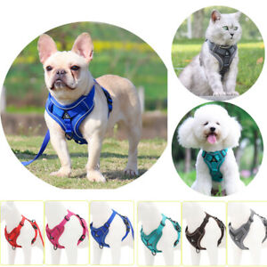 Mesh Breathable Dogs Cats Harness Chain Ring Reflective Pet Vest with Rope Strap
