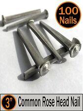 "(100) 3"" - COMMON ROSE HEAD NAIL  - Antique Vintage Rustic Nails - 10d"