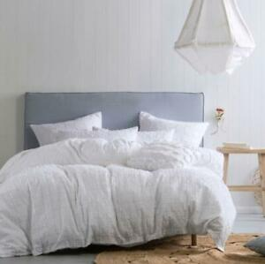 new fergus quilt cover set linen house white cotton feathered  elegant Queen