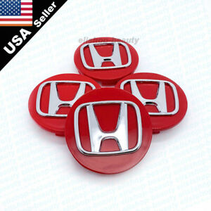4Pc Red Chrome Logo Wheel Center Hub caps for Honda Civic Accord CRV 69mm 2.75""