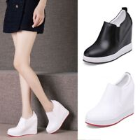 Womens Wedge High Heels Round Toe Platform Creepers Slip On Solid Shoes Loafers