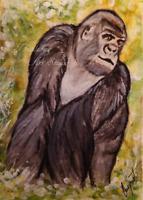 ACEO Silverback Gorilla Animals Nature Wildlife Artwork Watercolor Painting Art