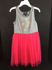 Kids Clothes Girls Size 6 Upper Gray Bottom Hot Pink Dress Beaded Butterfly Top