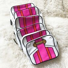 Lot of 6 Estee Lauder White/Pink Printed Cosmetics Makeup Travel Bags w