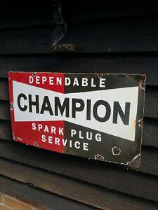 Champion Enamel Sign Spark Plug Sign porcelain sign Champion sign garage sign