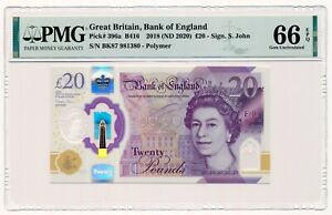 GREAT BRITAIN banknote 20 Pounds 2018 PMG MS 66 Gem Uncirculated