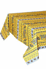 "Le Cluny 60"" x 96"" Rectangular COATED Provence Tablecloth - Lisa Yellow"