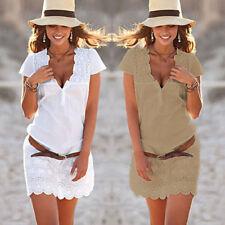 Women Lace Summer Casual Short Sleeve Evening Party Beach Dress Short Mini Dress