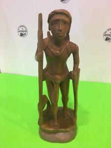 Vintage Wood Carving Sculptor Of Tribal Central America Man Traveler Hunter 12''