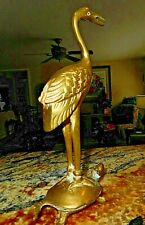 Brass Crane Standing on Turtle ~ Vintage ~ Brass - Free Shipping!