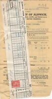 Urban District of Alnwick 1951 Rates & Water Invoice & Stamp Receipt Ref 38832
