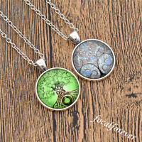 Vintage Celtic Tree of Life Cabochon Necklace Glass Pandant Jewellery Souvenir
