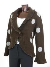Strickjacke braun grau Punkte N2 MARC CAIN Alpaka Wolle Rüschen Kaschmir 36 edel