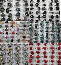 LOT DE 6 modèle 60pcs naturel stein mix bague Pierre Multicolore Plaqué argent