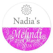 24 Personalised Mehndi Wedding Engagement Stickers Paisley Henna Quality Gloss