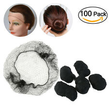 100pcs Black Unisex Hair Nets Invisible Elastic Edge Mesh Hair Accessories