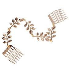 Womens Gold Tone Leaves Chain Fringe Hair Comb Cuff Head Band SS