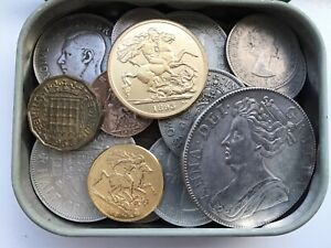 OLD BRITISH COINS JOB LOT / TIN OF RANDOM COINS FROM OLD COLLECTION BRITISH !!!