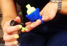 Silicona Portátil Esmalte de Uñas Barniz sostenedor de botella azul dedo retención de esmalte de uñas