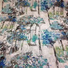 Edinburgh Weavers-CAMDEN Slub Linen BLUE Floral Fabric,Curtains/Upholsry