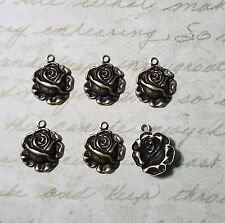 Small Oxidized Brass Rose Charms (6) - Borat6636/1R