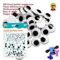 200 Googly Eyes SELF ADHESIVE Wobbly Eye Craft Mixed Sizes 3D Cardmaking kids