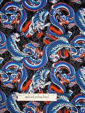 Dragon Tiger Fabric ~ 100% Cotton By The Yard ~ Headgear Asian Animal Flame Toss