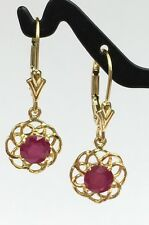 14k Solid Gold Leverback Cute One Stone Dangle Earrings, Natural Ruby 1.5 TCW