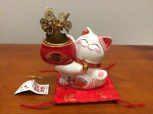 Ceramic Maneki-neko Lucky cat Art Deco Coin Bank Fengshui