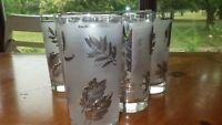Flat Tumblers glasses Silver Leaf by LIBBEY GLASS COMPANY 6 12 oz flat bottom