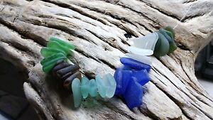 Sea Glass - 30 Small pieces of Top Drilled Aqua, Cobalt, Green, Olive, Amber