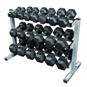 New Rubber Dumbbells 10-50 lb with Body-Solid Rack Hexagonal Home Gym Equipment
