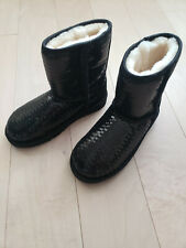 New Childrens size  3/EUR33UGG K Classic Short Sparkles 1004885K Black Sequin