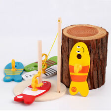 8pcs Wooden Montessori Toy Colorful Fishing Digital Column Baby Toy for Children