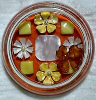 vintage Glass Beaded Paperweight Flower Mother of Pearl Retro Orange hollow