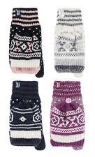 Heat Holders - Womens Thermal Winter Cute Fingerless Converter Gloves / Mittens