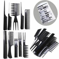 1 Set Black Pro Salon Hair Styling Hairdressing Plastic Barbers Brush Combs Kit
