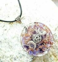 Orgone Orgonite pendant Triple Moon Wicca, Charoite, Amethyst, protection reiki