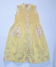 Cornelloki Floral Print Button Front Smocked Sleeveless Yellow Dress, 3-4 yrs