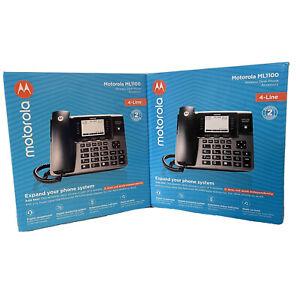 Lot of 2 Motorola Telefield 4-Line Unison Multiline Wireless Desk Phone ML1100
