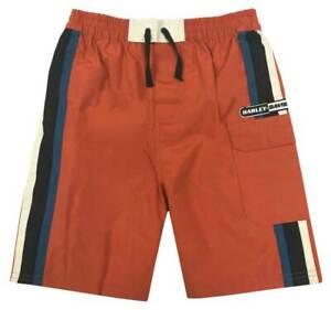 Harley-Davidson® Big Boys' Striped Swim Trunks w/ Mesh Lining, Orange 9091515