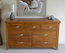 Rustic Oak Large Wide 7 Drawer Chest of Drawers 3 over 4 Bedroom Multi Chest