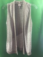 8525) CHICO'S  0 beige cotton blend open front sleeveless cardigan sweater 0