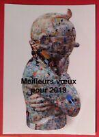 Tintin. Carte de voeux année 2019. Librairie Roland Buret. Sculpture Tintin.